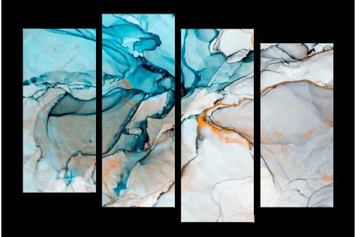 Модульная картина Абстракция голубые краски