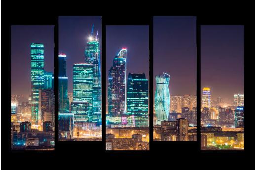 Модульная картина Ночная Москва