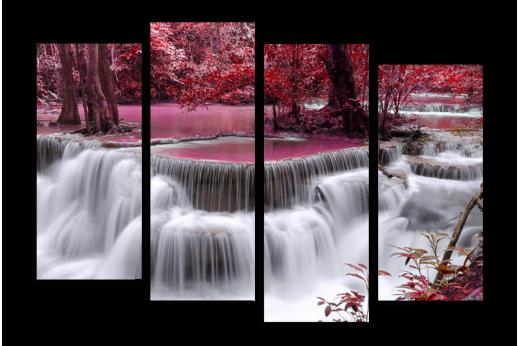 Модульная картина Розовый водопад