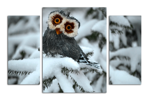 Модульная картина Совёнок в снегу